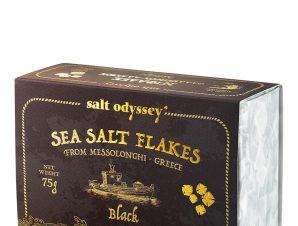 """Νιφάδες μαύρου θαλασσινού αλατιού Μεσολογγίου """"Salt Odyssey"""" 75g>"""