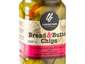 """Αγγουράκι γλυκόξινο σε φέτες «Bread & Butter Pickles» Θεσσαλονίκης """"Lagadas Farm"""" 330ml>"""