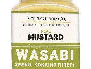 """Μουστάρδα με wassabi, χρένο & ροζ πιπέρι, χωρίς γλουτένη """"Peter's Deli"""" 210ml>"""