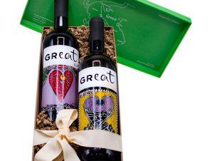 """Συλλεκτικό δώρο """"GReat"""" σε κουτί κρασιού>"""