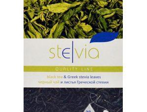 """Ελληνικά φύλλα στέβιας με μαύρο τσάϊ """"Stelvia"""" 45g>"""