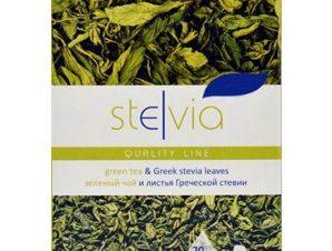 """Ελληνικά φύλλα στέβιας με πράσινο τσάϊ """"Stelvia"""" 45g>"""