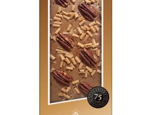 """Χειροποίητη σοκολάτα καραμέλα καπουτσίνο με καρύδια πεκάν """"Αγαπητός 1944"""" 100g>"""