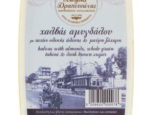 """Χειροποίητος χαλβάς αμυγδάλου με μαύρη ζάχαρη & ταχίνι ολικής άλεσης """"Κοσμίδη-Γαβρίλη"""" 450g>"""