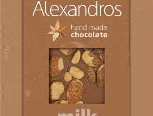 """Χειροποίητη σοκολάτα γάλακτος με αμύγδαλα """"Alexandros"""" 90g>"""