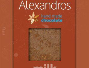 """Χειροποίητη σοκολάτα γάλακτος με μήλο & κανέλλα """"Alexandros"""" 90g>"""