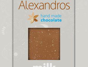 """Χειροποίητη σοκολάτα γάλακτος με τραγανή καραμέλα βουτύρου & αλάτι Ιμαλαϊων """"Alexandros"""" 90g>"""