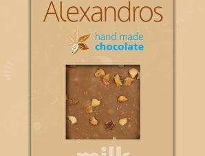 """Χειροποίητη σοκολάτα γάλακτος με φουντούκια """"Alexandros"""" 90g>"""