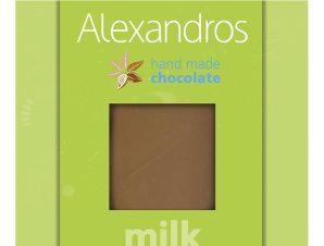 """Χειροποίητη σοκολάτα γάλακτος με γλυκαντικό στέβια """"Alexandros"""" 90g>"""
