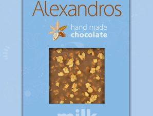 """Χειροποίητη σοκολάτα γάλακτος με ρύζι """"Alexandros"""" 90g>"""