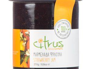 """Χειροποίητη μαρμελάδα φράουλα, Χίου """"Citrus"""" 250g>"""