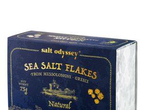 """Φυσικές νιφάδες θαλασσινού αλατιού, Μεσολογγίου """"Salt Odyssey"""" 75g>"""
