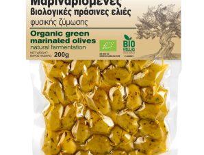 """Βιολογικές πράσινες μαριναρισμένες ελιές, Χαλκιδικής """"Olea tree"""" 200g>"""