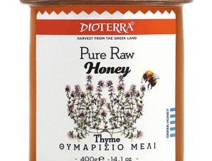 """Αγνό, άθερμο θυμαρίσιο μέλι, Αχαΐας """"Dioterra"""" 400g>"""